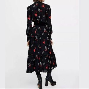 Details about  /NWT ZARA CAMPAIGN DIVINE BLACK FLOWY HEART PRINT MAXI DRESS 1217//348